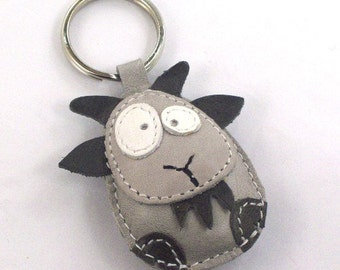 Goat Leather Keychain Gray - FREE Shipping Wordlwide - Handmade Leather Goat Bag Charm
