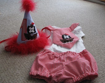 First birthday three piece pirate set