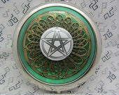 Wiccan pentagram compact mirror - wicca pagan goth compact - pocket mirror - witches mirror -makeup mirror