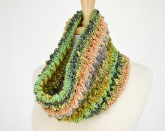 Silk Cotton Knitted Cowl Scarf, Multicolor Striped Circle Scarf