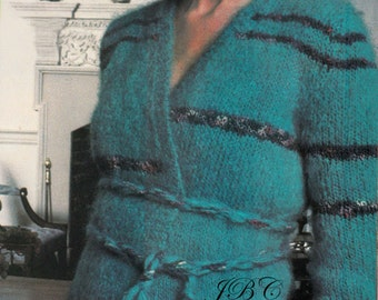 70s Mohair Wrap Sweater Knitting Pattern vintage pattern S101 PDF