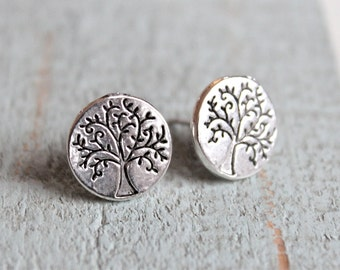 Tree Of Life Post Earrings.  Antique silver.  Studs.