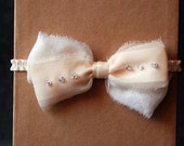 Ivory Chiffon and Rhinestone Bow Garter - Claire