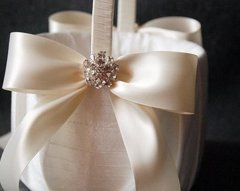 Ivory Silk Flower Girl Basket with Ivory Ribbon and Rhinestones - Katy