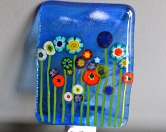 Wildflowers Fused Glass Nightlight