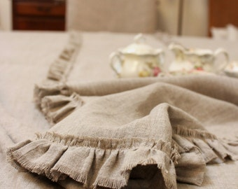 LILY...linen table runner with frayed ruffle