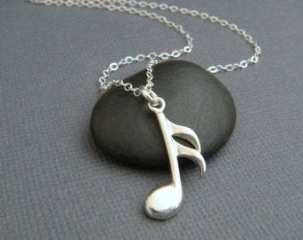 silver music note necklace. sterling musical pendant symbol. 16th sixteenth note semiquaver. simple modern jewelry. orchestra. musician gift