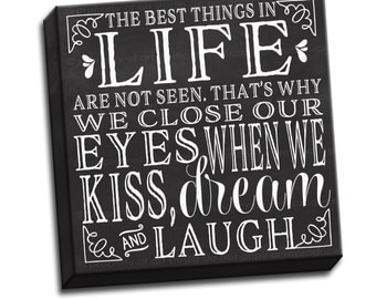 "Kiss Dream Laugh Chalkboard Black and White Typography Quote - 6""x6"" to 36""x36"" - 1.25"" Deep - Gallery Wrapped Canvas - artstudio54"