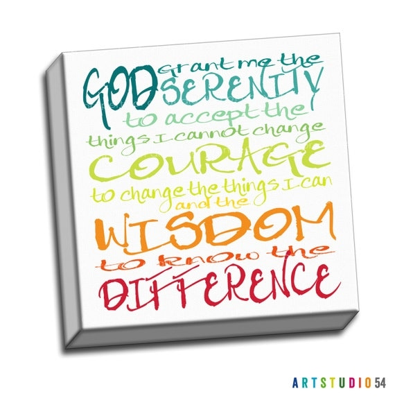 "Rainbow Colored - Serenity Prayer Wisdom Courage Typography Quote - 6""x6"" to 36""x36"" - 1.25 Gallery Wrapped Canvas - artstudio54"