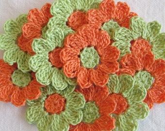 Small Crochet Flowers for Scrapbooks or Sewing, 12 Handmade Appliques, Craft Supplies