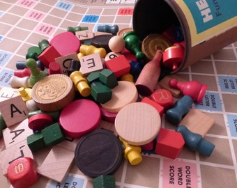 100 Plus Fun and Funky Wood Game Pieces with vintage shaker
