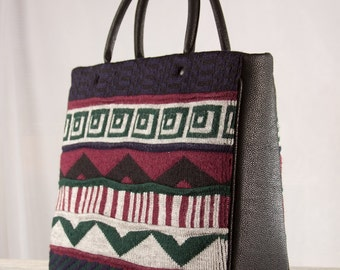 Top handle large upcycled sweater tote briefcase handbag