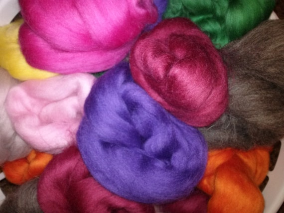 Felting Fiber Grab Bag - Mystery Box of wool roving valued at at least 18 dollars