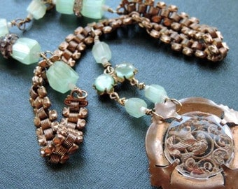 Antique Assemblage Necklace Victorian Sparrow Pin Watch Chain Green Satin Beads