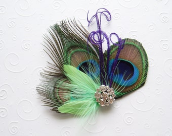 Wedding Fascinator Peacock Feather Hair Clip MINT LIME GREEN Bridal Headpiece Crystal turquoise