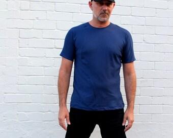 Men's Handmade Royal Blue Cotton T-shirt with organic seams. Size Medium. Minimalist mens fashion clothing.