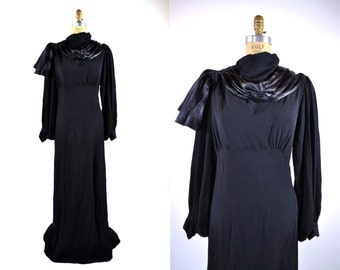 1930s dress vintage 30s black dramatic rhinestone evening gown L