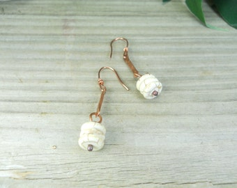 Antique copper dangle earrings with vanilla beads