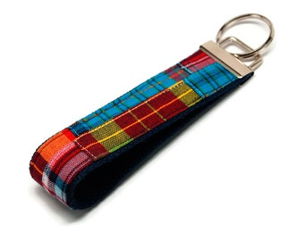 Preppy  Madras Patchwork Key Fob Keychain -  Wristlet - Key Rings Keychain - Bag Tag - Sweet 16 Gift