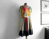 Women's Colorful Dress Plus Size Clothing 2X 3X Floral Boho Chic Lagenlook Clothes Bohemian Dress Upcycled Recycle Eco Friendly 'NATASHA'