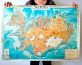 "Map of Iceland 38,5"" x 27"" ( 98,5 x 69,5 cm) Print , Historical map of Iceland, Island, Islandia"