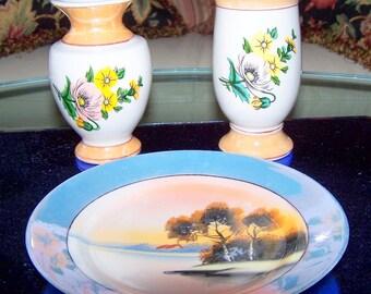 Vintage Eclectic Iridescent Porcelain Trio