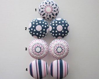 Set of 4-Pink-Navy-White Drawer Knobs- Mix and Match-You choose which designs