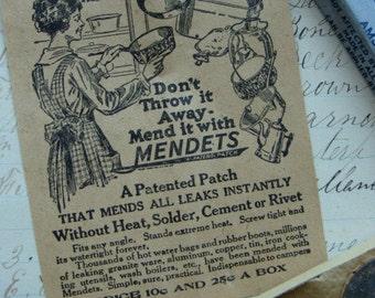 One Antique Mendets Repair Kit with Gorgeous Ephemera unused complete in original slider box