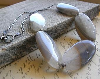 Grey Agate Statement Necklace, Large Gemstone Necklace, Quartz Necklace