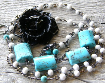 Black Flower Turquoise and Vintage Bead Chain Necklace, Rosary Style Necklace, Aqua and White Necklace