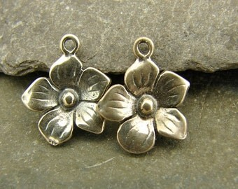 Tiny Blossoms - Tiny Sterling Silver Flower Charms - One Pair -ctbtf