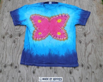 Nice Butterfly Tie Dye T-Shirt (Jerzees Size XL) (One of a Kind)