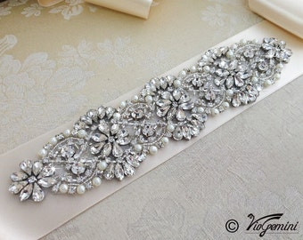 Rhinestone wedding sash, wedding sash belt , rhinestone bridal sash, pearl wedding sash, vintage wedding sash, bling bridal sash
