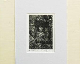 Buddha Photography, Buddhist Art, Zen Wall Decor, Carved Stone Buddha, Matted Photo, Buddha Print, Asian Art,Asian Photography,Miniature Art