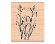 MARSH GRASS-wood mounted rubber stamp (41-25)