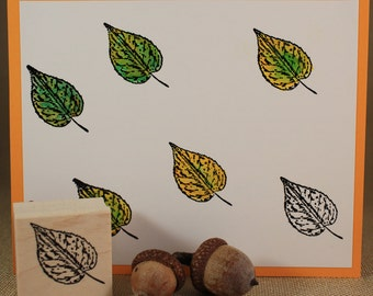 BIRCH LEAF~Rubber Stamp~Autumn Fall or Spring Tree Stamp~Nature~Wood Mounted Rubber Stamp by Mountainside Crafts (24-14)