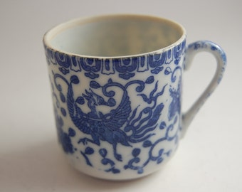 Vintage Blue Dragon Tiny Teacup and Saucer