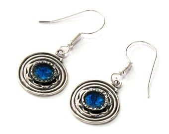 Roman Glass Round Earrings, 925 Silver Earrings, Spiral Dangle Earrings, Unique Birthday Gift, Blue Glass Earrings, Israel jewelry gifts