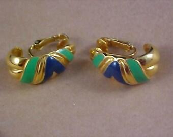 Mid Century ~ COBALT & GREEN Half Hoop 1950's Clip Earrings