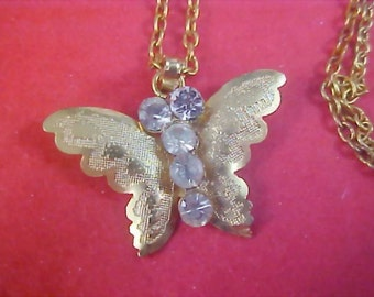 REDUCED~Stunning Diamante & Gilt Gold Butterfly Pendant and  Chain Necklace