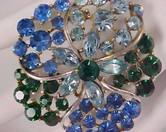 BLING~Blue Sapphire & Topaz and Emerald Green Rhinestone Silver Plate Brooch