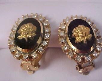 CELEBRITY Black Glass Gilt GOLD ROSE Cameo Diamante Clip Earrings