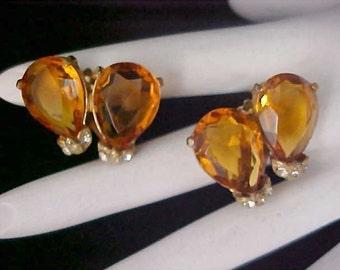 DeLizza & Elster JULIANA HONEY AMBER ~ ~ Open Back Art Glass Stone Gold Plate Clip Earrings