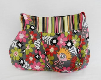 Pleated Hobo Bag in Pink, Gray, Red, Black, Orange and Green Stripes and Florals-MEDIUM