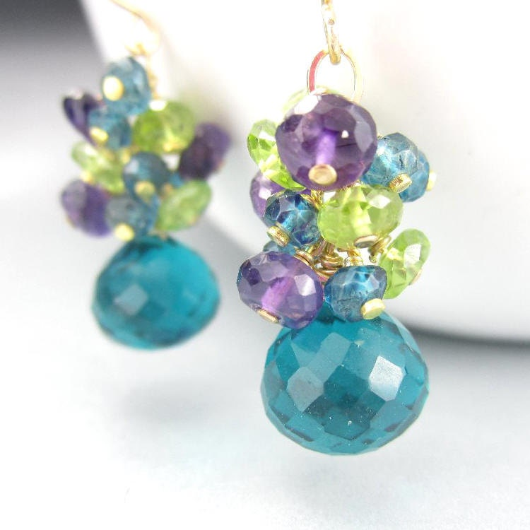 Peacock Gemstone Cluster Earrings Gold Filled Wire Wrapped
