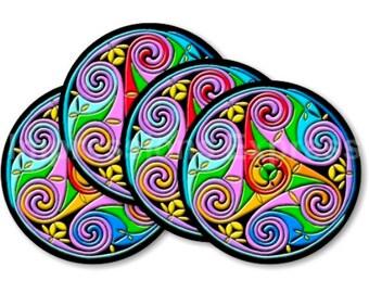 Celtic Triskel Coasters - Set of 4