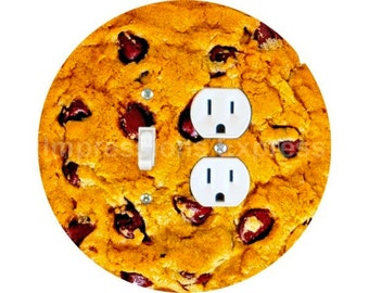 Chocolate Chip Cookie Toggle Switch and Duplex Outlet Double Plate Cover