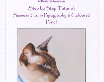 Step by Step Art Tutorial - Siamese cat using Pyrography, Inktense pencils and Coloured pencils