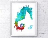 Aqua Seahorse Print
