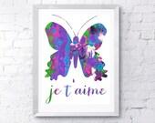 Je t'aime Butterfly print